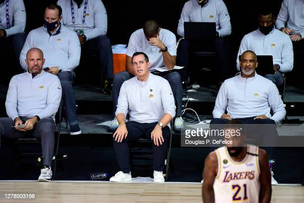 Head coach Frank Vogel of the Los Angeles Lakers looks on during the first half against the Miami Heat in Game Three of the 2020 NBA Finals at...