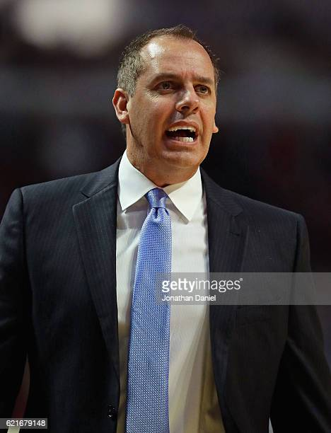 Head coach Frank Vogel of the Orlando Magic jaws with a referee during a game against the Chicago Bulls at the United Center on November 7 2016 in...