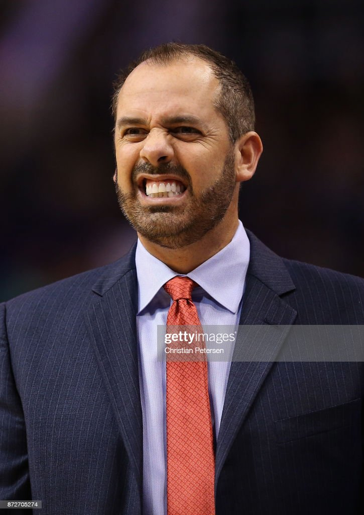 Head coach Frank Vogel of the Orlando Magic reacts on the bench during the first half of the NBA game against the Phoenix Suns at Talking Stick Resort Arena on November 10, 2017 in Phoenix, Arizona.