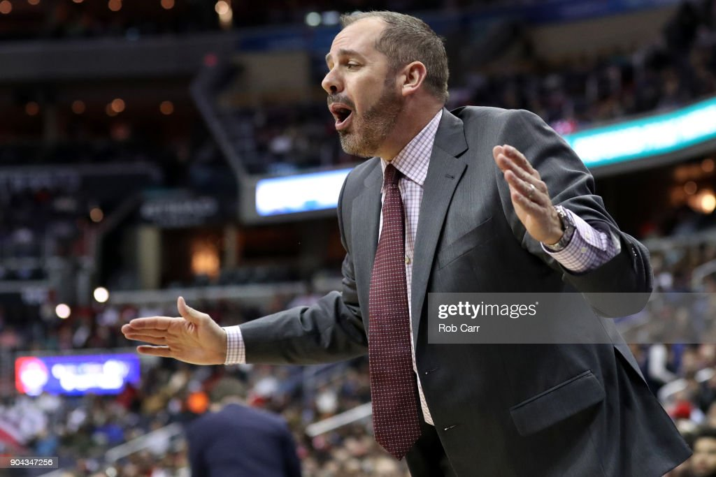 Head coach Frank Vogel of the Orlando Magic reacts to a call in the first half against the Washington Wizards at Capital One Arena on January 12, 2018 in Washington, DC.