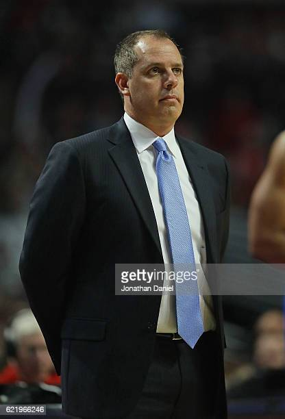 Head coach Frank Vogel of the Orlando Magic watches as his team takes on the Chicago Bulls at the United Center on November 7 2016 in Chicago...