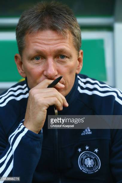 Head coach Frank Wormuth of Germany looks on during the Under 20 International Friendly match between Germany and Italy at TivoliStadium on October...
