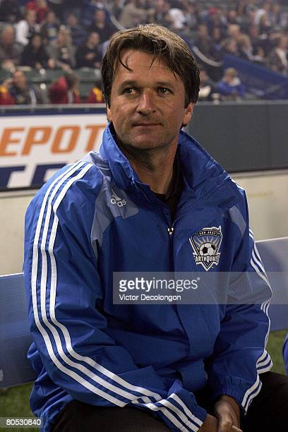 Head Coach Frank Yallop of the San Jose Earthquakes looks on just prior to the start of their MLS game against the Los Angeles Galaxy at the Home...