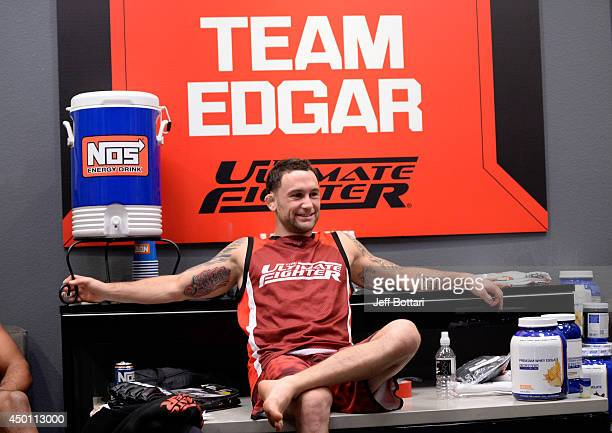 Head Coach Frankie Edgar watches team Edgar fighter Eddie Gordon warm up before facing team Penn fighter Mike King in their preliminary fight during...