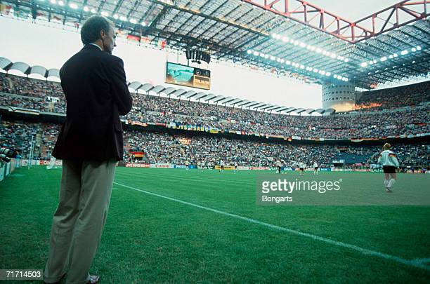 Head coach Franz Beckenbauer of Germany looks on prior to the World Cup 1990 Group D match between Germany and Yugoslavia at the Giuseppe Meazza...