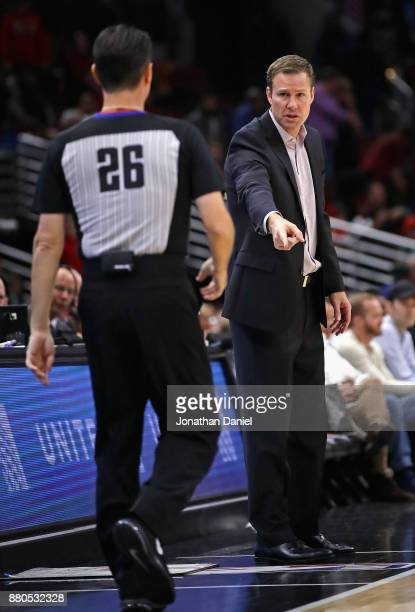 Head coach Fred Hioberg makes a point to referee Pat Fraher during a game against the Miami Heat at the United Center on November 26 2017 in Chicago...