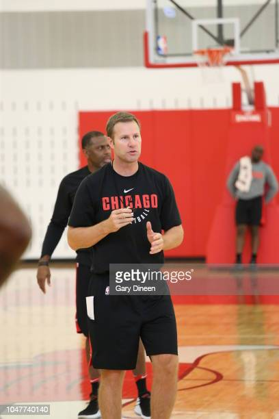 Head Coach Fred Hoiberg coaches during a practice on October 2 2018 at the Advocate Center in Chicago Illinois NOTE TO USER User expressly...