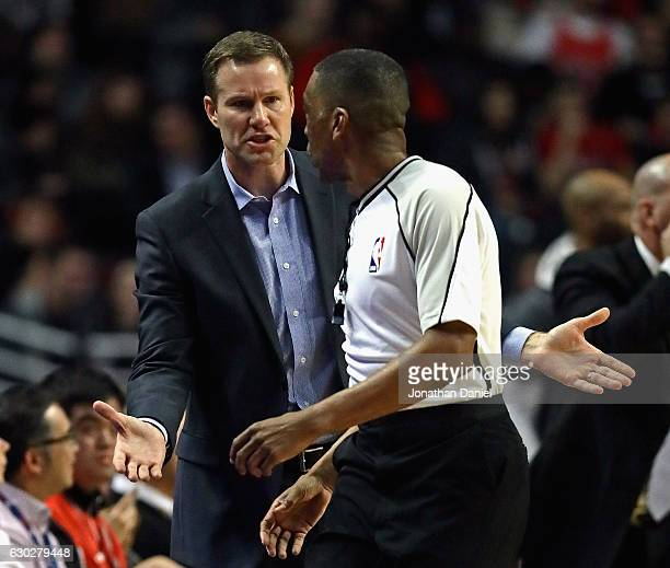 Head coach Fred Hoiberg of the Chicago Bulls complains to referee Leon Wood during a game against the Detroit Pistons at the United Center on...