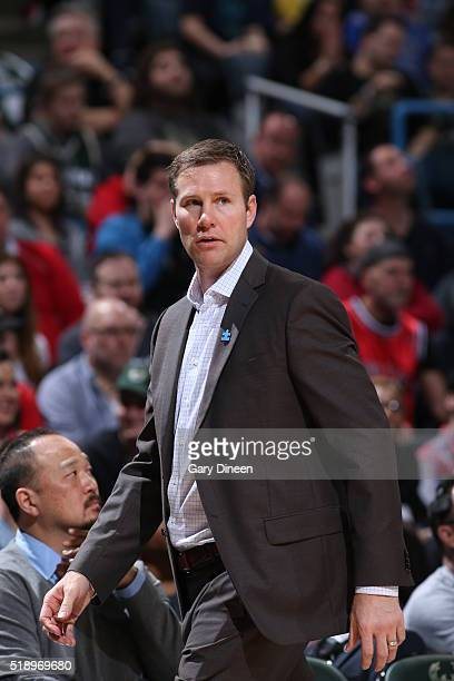 Head Coach Fred Hoiberg of the Chicago Bulls during the game against the Milwaukee Bucks on April 3 2016 at the BMO Harris Bradley Center in...