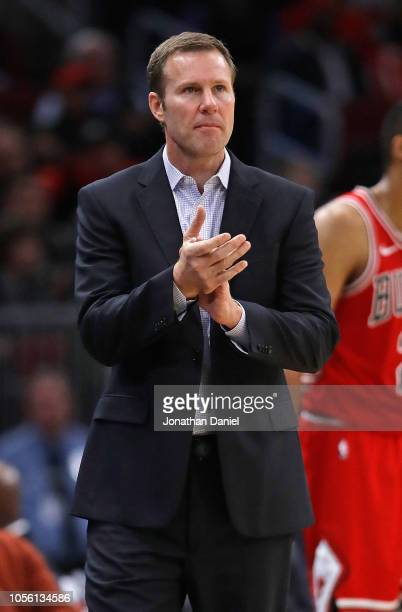 Head coach Fred Hoiberg of the Chicago Bulls encourages his team against the Denver Nuggets at the United Center on October 31, 2018 in Chicago,...