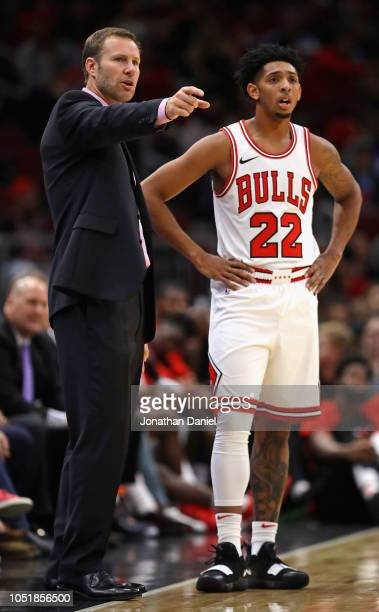 Head coach Fred Hoiberg of the Chicago Bulls gives instruction to Cameron Payne against the Indiana Pacers during a preseason game at the United...