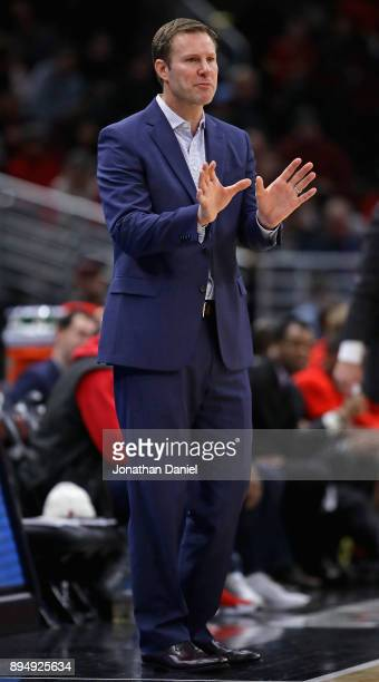 Head coach Fred Hoiberg of the Chicago Bulls gives instructions to his team against the Utah Jazz at the United Center on December 13, 2017 in...