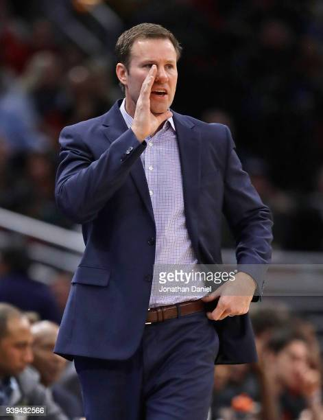 Head coach Fred Hoiberg of the Chicago Bulls gives instructions to his team during a game against the Orlando Magic at the United Center on February...