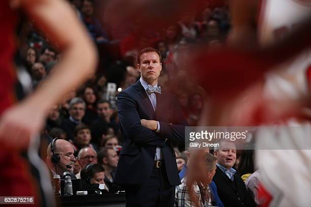 Head Coach Fred Hoiberg of the Chicago Bulls is seen during the game against the Miami Heat on January 27 2017 at the United Center in Chicago...