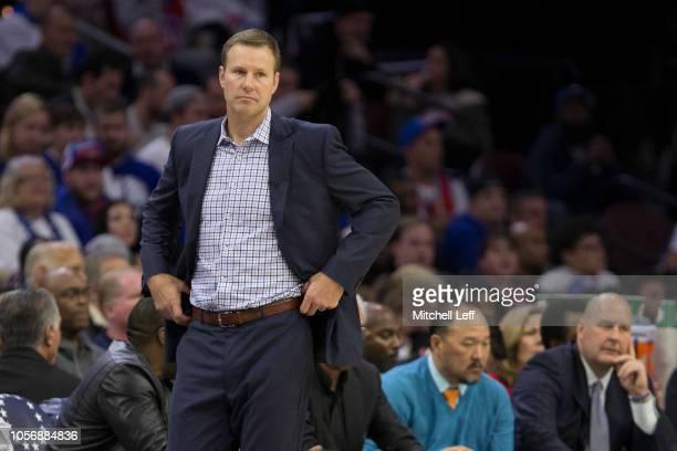 Head coach Fred Hoiberg of the Chicago Bulls looks on against the Philadelphia 76ers at the Wells Fargo Center on October 18, 2018 in Philadelphia,...