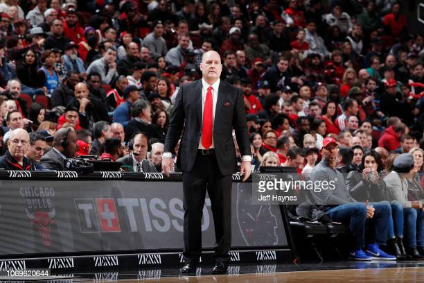 Head Coach Fred Hoiberg of the Chicago Bulls looks on against the Oklahoma City Thunder on December 7, 2018 at United Center in Chicago, Illinois....