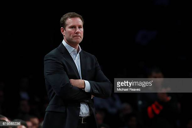 Head coach Fred Hoiberg of the Chicago Bulls looks on against the Brooklyn Nets during the first half at Barclays Center on October 31 2016 in New...