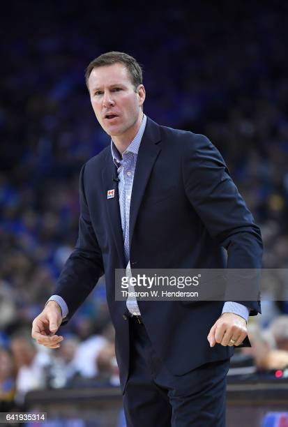 Head coach Fred Hoiberg of the Chicago Bulls looks on against the Golden State Warriors during an NBA basketball game at ORACLE Arena on February 8,...