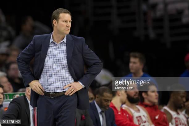 Head coach Fred Hoiberg of the Chicago Bulls looks on against the Philadelphia 76ers at the Wells Fargo Center on January 24, 2018 in Philadelphia,...