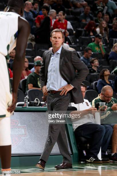 head coach Fred Hoiberg of the Chicago Bulls looks on during a preseason game against the Milwaukee Bucks on October 3 2018 at Fiserv Forum in...