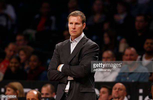 Head coach Fred Hoiberg of the Chicago Bulls looks on during a game against the Brooklyn Nets at Barclays Center on October 28 2015 in the Brooklyn...