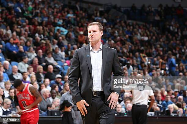 Head Coach Fred Hoiberg of the Chicago Bulls looks on during the game against the Minnesota Timberwolves on February 6 2016 at Target Center in...