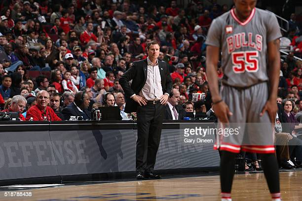 Head Coach Fred Hoiberg of the Chicago Bulls looks on during the game against the Detroit Pistons on April 2 2016 at the United Center in Chicago...