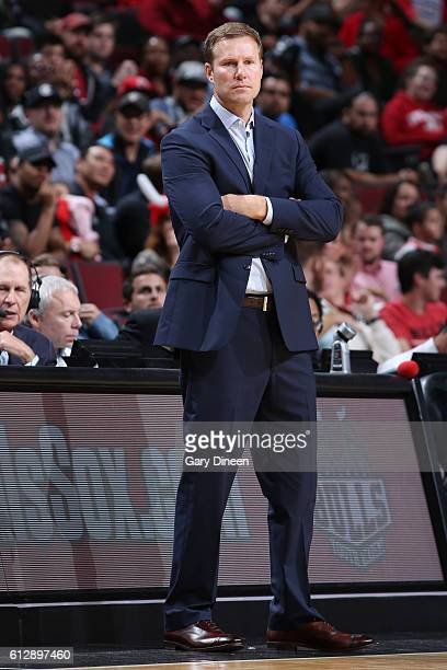 Head Coach Fred Hoiberg of the Chicago Bulls looks on during the game against the Milwaukee Bucks during a preseason game on October 3 2016 at United...