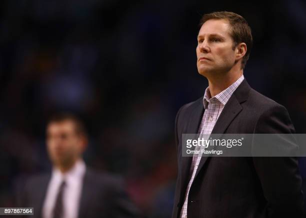 Head coach Fred Hoiberg of the Chicago Bulls looks on during the game against the Boston Celtics at TD Garden on December 23, 2017 in Boston,...