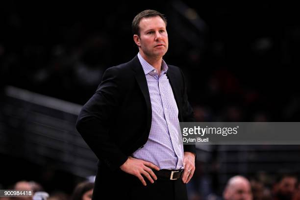 Head coach Fred Hoiberg of the Chicago Bulls looks on in the fourth quarter against the Portland Trail Blazers at the United Center on January 1 2018...