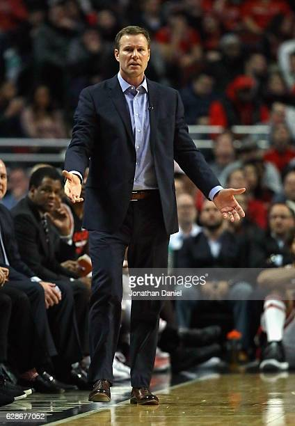 Head coach Fred Hoiberg of the Chicago Bulls questions a referee during a game against the San Antonio Spurs at the United Center on December 8 2016...
