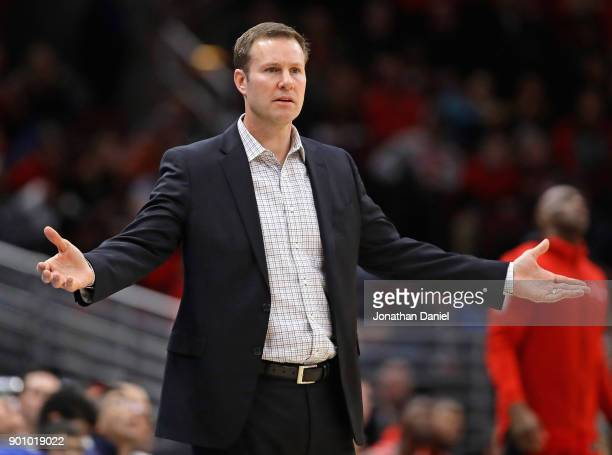 Head coach Fred Hoiberg of the Chicago Bulls questions a referees' call during a game against the Toronto Raptors at the United Center on January 3...
