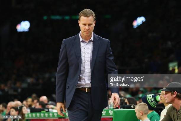 Head coach Fred Hoiberg of the Chicago Bulls reacts during the second half against the Boston Celtics at TD Garden on November 14, 2018 in Boston,...