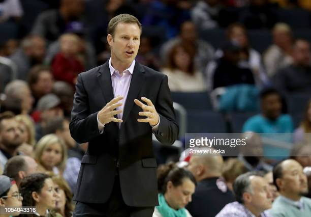 Head coach Fred Hoiberg of the Chicago Bulls reacts on the sidelines against the Charlotte Hornets during their game at Spectrum Center on October...
