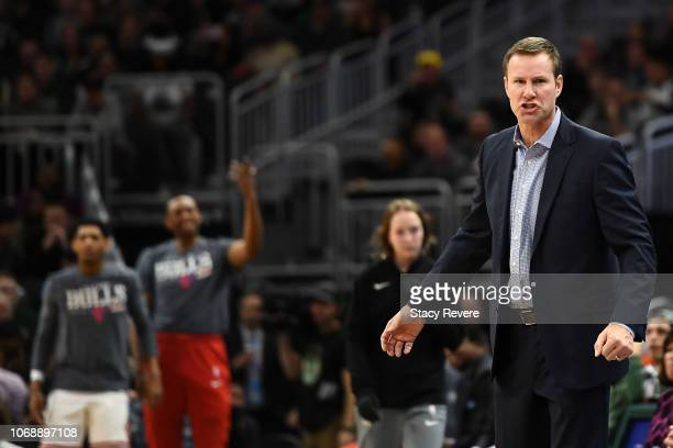 Head coach Fred Hoiberg of the Chicago Bulls reacts to an officials call during a game against the Milwaukee Bucks at Fiserv Forum on November 16,...