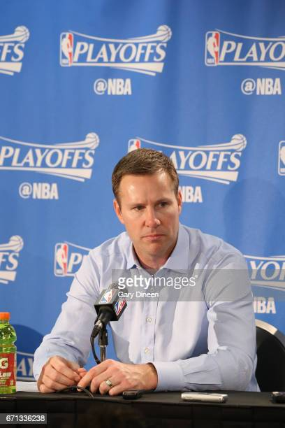Head Coach Fred Hoiberg of the Chicago Bulls speaks during the postgame press conference after the game against the Boston Celtics during Game Three...