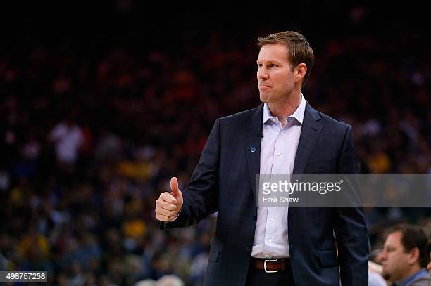 Head coach Fred Hoiberg of the Chicago Bulls stands on the side of the court during their game against the Golden State Warriors at ORACLE Arena on...