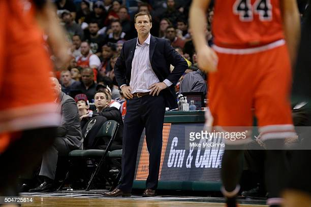 Head coach Fred Hoiberg of the Chicago Bulls stands on the sidelines during the third quarter against the Milwaukee Bucks at BMO Harris Bradley...
