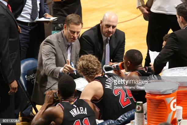 Head Coach Fred Hoiberg of the Chicago Bulls talks to the team during the game against the Charlotte Hornets on February 27 2018 at Spectrum Center...