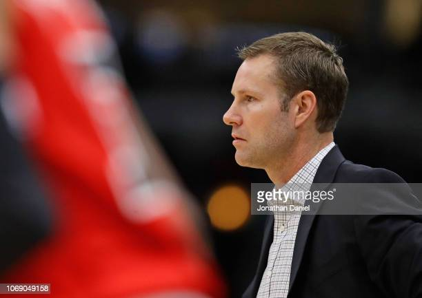Head coach Fred Hoiberg of the Chicago Bulls watches as his team takes on the Toronto Raptors at United Center on November 17, 2018 in Chicago,...