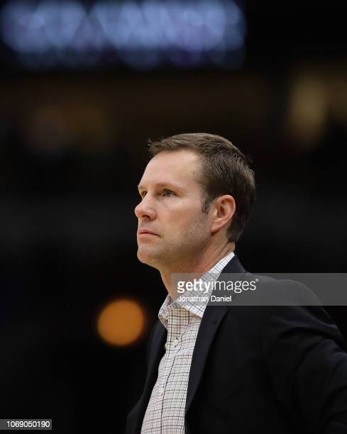Head coach Fred Hoiberg of the Chicago Bulls watches as his team takes on the Toronto Raptors at United Center on November 17 2018 in Chicago...