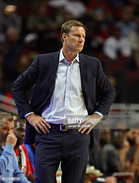 Head coach Fred Hoiberg of the Chicago Bulls watches as his team takes on the Milwaukee Bucks during a preseason game at the United Center on October...