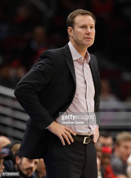 Head coach Fred Hoiberg of the Chicago Bulls watches as his team takes on the Indiana Pacers at the United Center on November 10 2017 in Chicago...