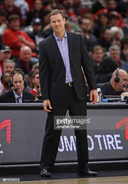 Head coach Fred Hoiberg of the Chicago Bulls watches as his team takes on the Phoenix Suns at the United Center on November 28 2017 in Chicago...