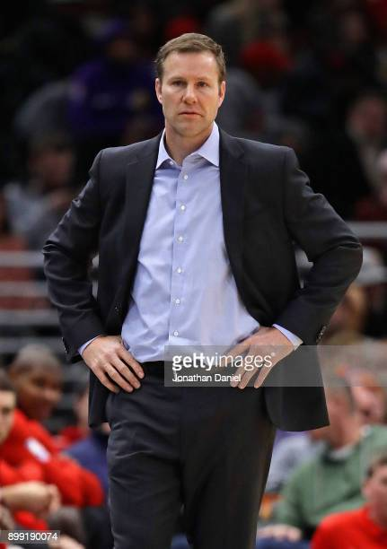 Head coach Fred Hoiberg of the Chicago Bulls watches as his team takes on the New York Knicks at the United Center on December 27 2017 in Chicago...