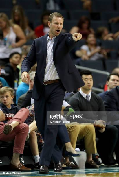 Head coach Fred Hoiberg of the Chicago Bulls watches on against the Charlotte Hornets during their game at Spectrum Center on October 8 2018 in...