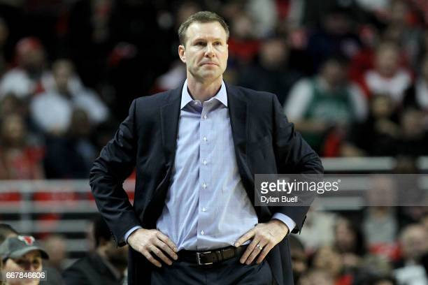 Head coach Fred Hoiberg of the Chicago Bulls watches the game from the bench in the second quarter against the Brooklyn Nets at United Center on...