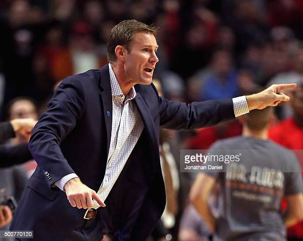 Head coach Fred Hoiberg of the Chicago Bulls yells at a referee during a game against the Toronto Raptors at the United Center on December 28 2015 in...