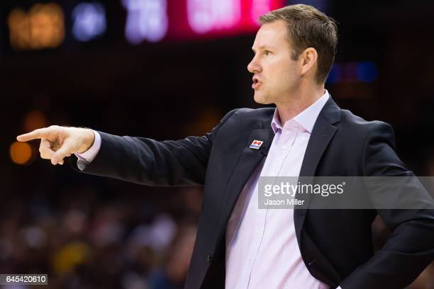 Head coach Fred Hoiberg of the Chicago Bulls yells to his players during the second half against the Cleveland Cavaliers at Quicken Loans Arena on...