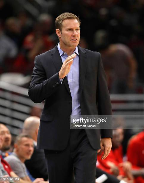 Head coach Fred Hoiberg of the Chicago Buls yells instructions during a game against the Atlanta Hawks at the United Center on October 26 2017 in...